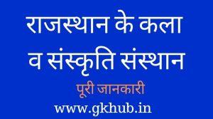 राजस्थान के कला व संस्कृति संस्थान