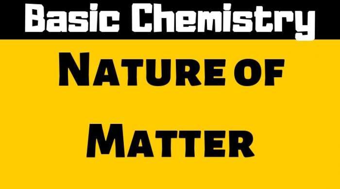 Nature of Matter - Basic Chemistry