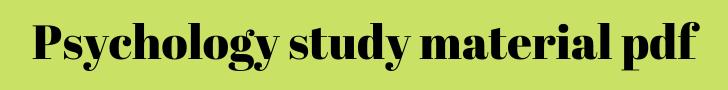 psychology study material pdf
